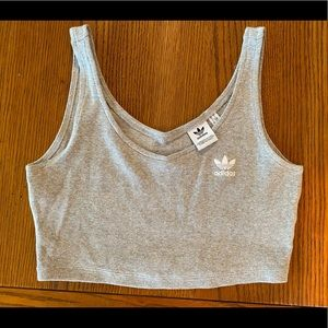 Adidas cropped vest tank top gray size small